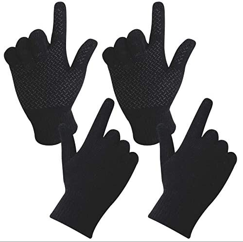 oBolvs 2P Pack Winter Knit Touchscreen Gloves for Women and Men Anti Slip Silicone Gel Elastic product image