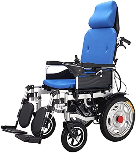 MENG Electric Wheelchair Can Be Boarded on The Plane, Dual-Motor Waterproof Joystick, One-Key Folding Electric Wheelchair, Elderly Disabled Scooter,Blue