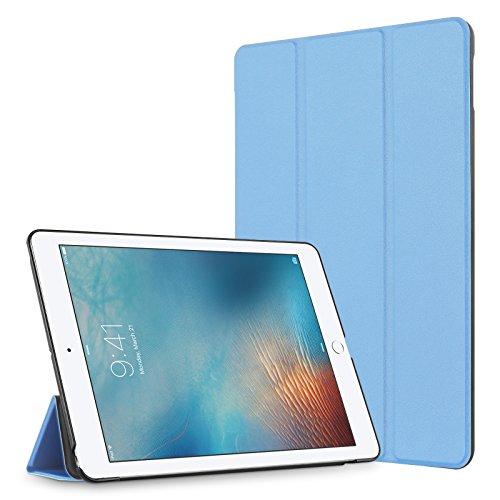 JAMMYLIZARD VEO   Flip Cover Custodia Smart Case 3 Pieghe in Poliuretano e Microfibra per iPad 9.7 Pollici (2017), Azzurro