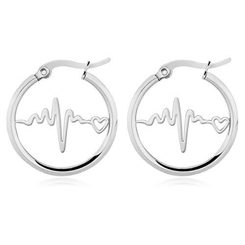 Gymqian Novelty Jewelry-Stainless Steel Earring for Women Etc Hoop Earrings/Silver