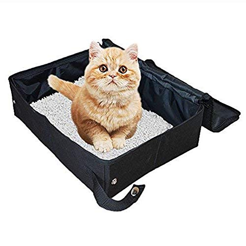 XXDYF Caja de Arena Plegable para Gatos, Plegable y portátil Arenero para Gatos Resistente Al Agua, para Viajes Aire Libre, con Cubierta,Negro,L