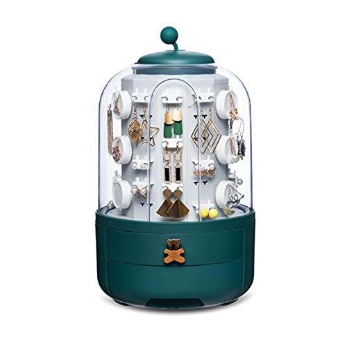 RAKU ジュエリーボックス アクセサリースタンド 360度回転 収納 大容量 ピアス 指輪 ネックレス ジュエリー 収納ケース 透明カバー 防塵 引き出し付 5段トレー 取り出しやすい プレゼント オシャレ 可愛い ホワイト/グリーン2色 (グリーン)