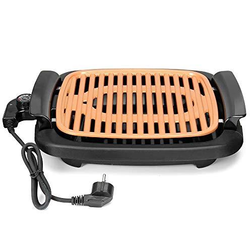 Parrilla Sin Humos de Cobre Portatil Potente Grill Resistente Barbacoa Eléctrica Antiadherente Plancha con Termostato Ajustable
