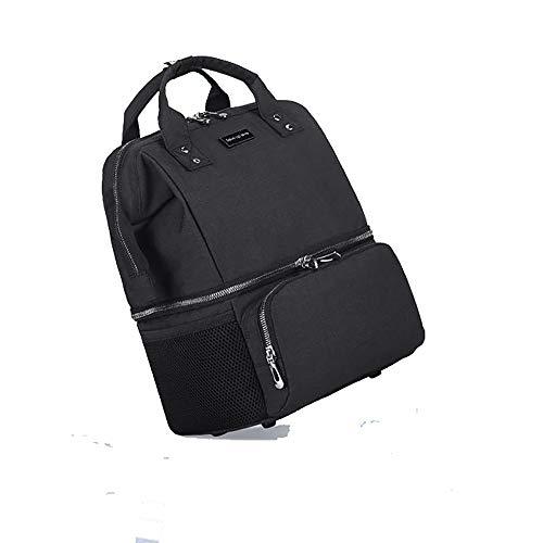 EVFIT Mochila cambiadora para pañales de bebé, bolsa cambiadora, antifugas, separación seca y húmeda, bolsa de pañales aislante, color negro, tamaño: 28 cm x 19 cm x 33 cm)