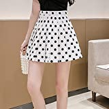 JJZXD Mujeres de Verano Faldas Plisadas Nueva Cintura Coreana Mini Falda Poka Poka Dot Impreso Escuela Chicas Sexy Linda Kawaii Harajuku Falda (Color : White, Size : M)