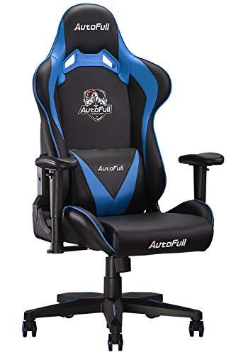 【Amazon.co.jp 限定】 AutoFull(オートフル) ゲーミングチェア 椅子 オフィスチェア リクライニング パソコンチェア ハイバック ロッキング レーシングチェア ワークチェア デスクチェア レザー e-sports競技 多機能 人間工学 AF063 「戦の義」 ブルー