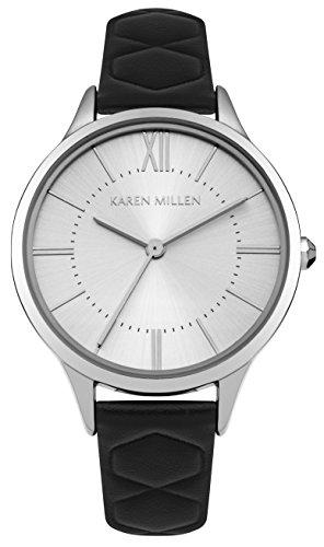 Karen Millen Womens Analoog Klassiek Quartz Horloge met Lederen Band KM170B