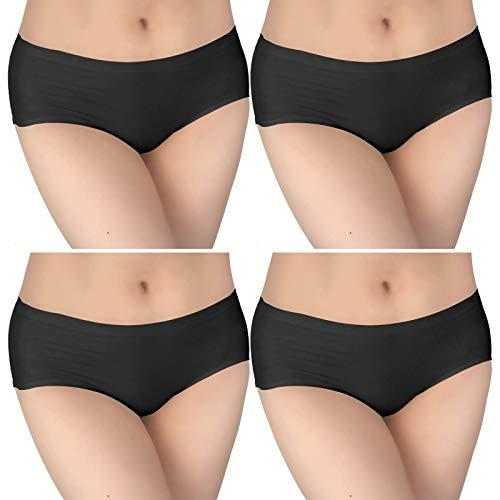 Bestele Nahtlose Unterhose Damen, Nahtlose Unterwäsche Nahlos Slips zum Frauen Sport Yoga Mädchen Tanzen, Seamless Panties Dehnbare Bequeme für Strumpfhosen HüfteRock (4*Schwarz, XL)