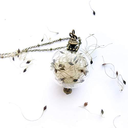Collana con ciondolo in vetro soffiato, con semi di clematide vitalba