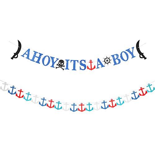 2 Piezas Banner Temático Náutico de Ahoy Its A Boy Guirnalda de Ancla Náutica Bandera de Ducha de Bebé para Decoración de Bebé Niño
