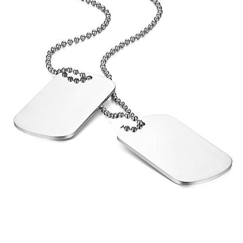 Flongo Pendente Ciondolo Personalizzato Incisione Acciaio Inossidabile Collana Militare, Collana da Uomo Personalizzata, Ciondolo Doppio Dog Tag, Argenteo 60cm