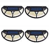 YSSMAO Luces de Pared solares al Aire Libre con la lámpara del Sensor de Movimiento de la lámpara Impermeable con el Foco de energía Solar para el Patio de la Calle,4pcs 102led