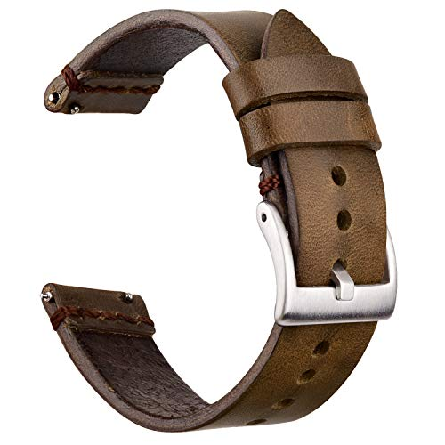 Ritche 22mm Leather Watch Bands, Quick Release Leather Watch Strap Oil Wax Leather Watch Bands Compatible with Fossil Watch for Men