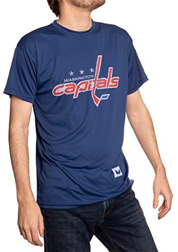 NHL Mens Loose Fit Performance Rashguard Wicking Short Sleeve Shirt (Washington Capitals, X-Large)