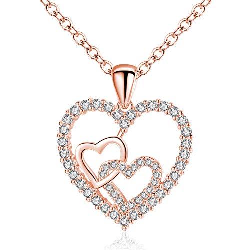 AZEWE Collar chapado en oro con colgante de corazón de circonita 5A, para mujer