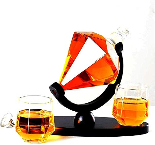 HLR Vasos de Whisky Jarra de Whisky Whisky Jarra y Vasos, Decorado y Cristalería Diamante Whisky Jarra con 2 Diamantes Gafas Base Creativa Craft Transparente (Color : Transparent, Size : 850ML)
