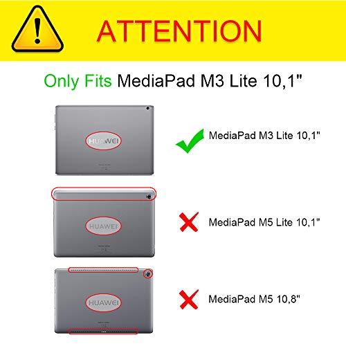Fintie Huawei MediaPad M3 Lite 10 Bluetooth QWERTZ Tastatur Hülle - Ständer Schutzhülle mit Magnetisch Abnehmbarer Drahtloser Deutscher Bluetooth Tastatur für Huawei M3 Lite 10.1 Zoll, Schwarz - 2