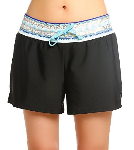 OUO Damen UV Schutz Badeshorts Schwimmen Bikinihose Wassersport Schwimmshorts Boardshorts Schwarz mit Blau Größe L