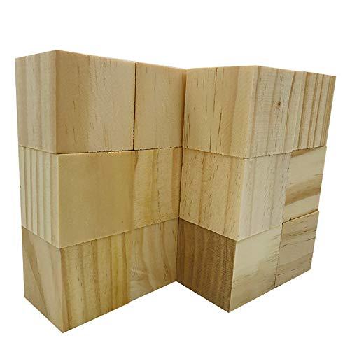 Fycooler 12pcs Cubi di blocchi di legno 2 '' Blocchi di legno naturale non finiti Intaglio Pittura Whittling Basswood per l'artigianato d'arte Progetto di classe Forniture domestiche fai-da-te