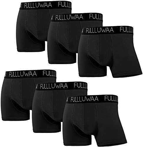 Fullluwaa Boxershorts Herren 6er Pack Retroshorts Trunks Men Unterwäsche Unterhosen Männer Baumwolle S,M,L,XL,2XL,3XL(L,Schwarz)