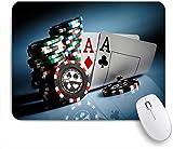 GLONLY Fichas de Juego y Cartas de Pares Ases Casino Juegos de apuestas Peligro,Alfombrilla Raton Alfombrilla Gaming Alfombrilla para computadora