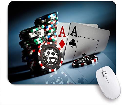 SUHOM Gaming Mouse Pad Rutschfeste Gummibasis,Spielchips und Paarkarten Aces Casino Wager Games Hazard,für Computer Laptop Office Desk,240 x 200mm