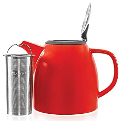 Tealyra - Drago Ceramic Teapot in Red - 37-ounce (4-6 cups) - Large Stylish Teapot - Stainless Steel Lid Extra-Fine Infuser To Brew Loose Leaf Tea - Leed-Free - 1100ml