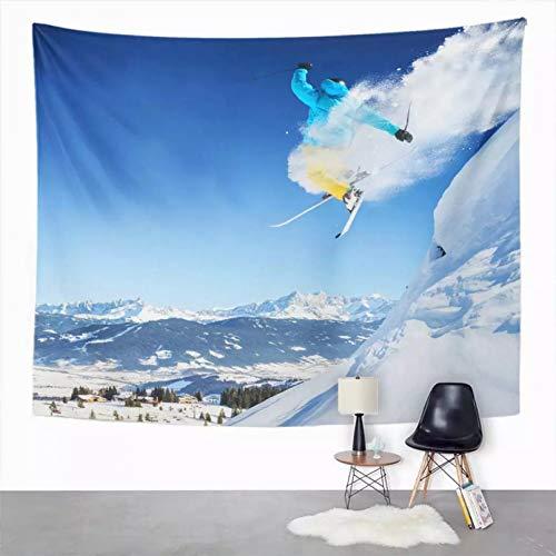 N/A Tapiz Tapiz Fresco Salto Esquiador Tapiz de poliéster para Dormitorio Decoración de la habitación Tapiz artístico Tapiz de Picnic Estera de Playa Toalla de Playa Cubierta de Cama