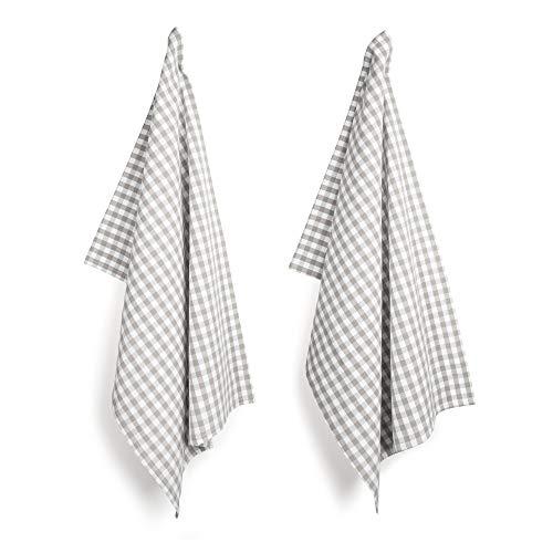 FILU Geschirrhandtücher 6er Pack (Leinen/Baumwolle) Grau/Weiß kariert (Farbe und Design wählbar) 45 x 70 cm - hochwertige Küchenhandtücher/Geschirrtücher