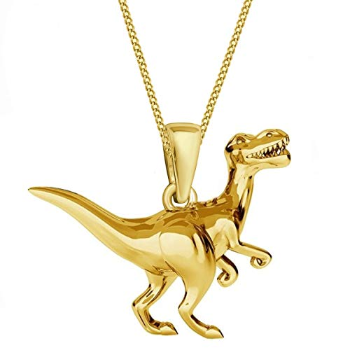 3D Dinosaur Pendant with Chain 925 Genuine Silver Girls Ladies Necklace Dino 2) Gold.