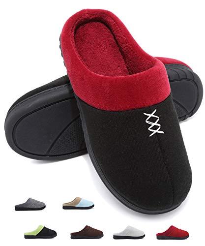 Deevike Damen Hausschuhe Pantoffeln Frauen warme Winter Damenschuhe Futter Cotton Knit Anti-Rutsch Einlegesohle Damenschuhe Schwarz Rot W42/43