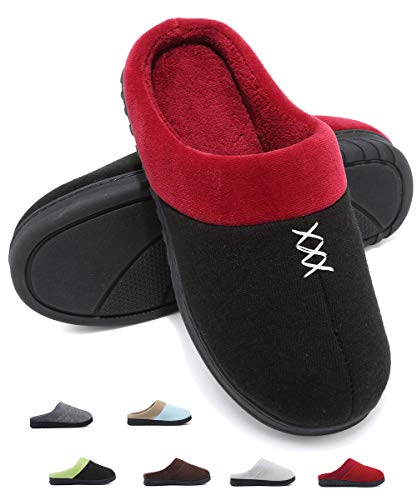 Deevike Damen Hausschuhe Pantoffeln Frauen Warme Damenschuhe Futter Cotton Antirutsch Pantoffeln für Zuhause Schwarz Rot W42/43