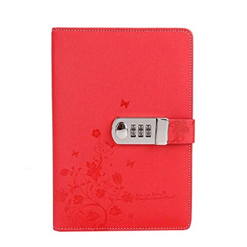 Sealei Locking Diary Combination Lock Journal Lockable Diary with Lock Digital Password Diaries A5 Planner Cover (Red)