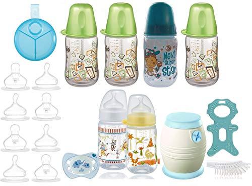 nip Erstausstattung - Cool Twister Set, Flaschen- & Saugerset & Milchpulverspender plus Überraschungsgeschenk für Jungen