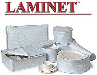LAMINET 6 Piece Quilted Dinnerware Storage Starter Set - Includes 4 Plate Cases, 1 Cup Case & Platter Case - WHITE