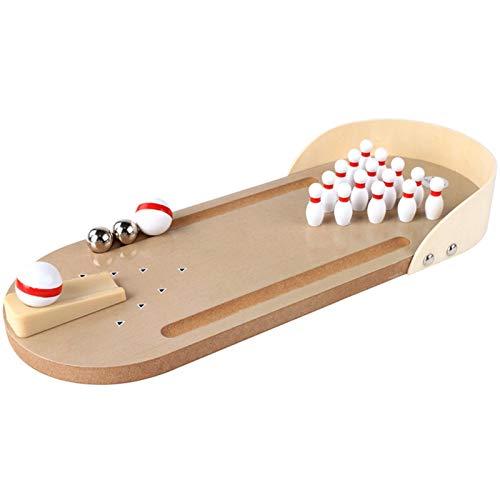 Desktop Wooden Miniature Bowling Alley, Mini Bowlingbahn Tischbowling Desktop-Holz Miniatur-Bow Für Erwachsene Im Büro, Auf Partys O. Als Spielzeug Fürs Kinderzimmer