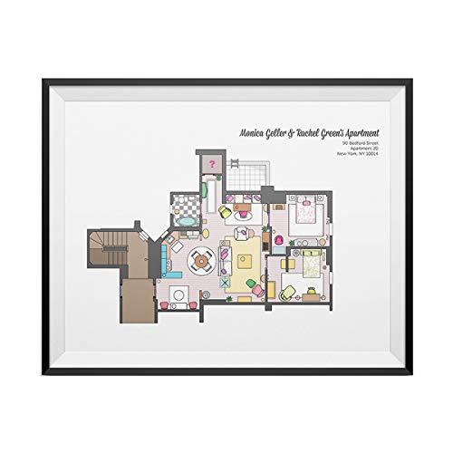 My Party Shirt Monica Geller and Rachel Green Apartment Floor Plan Poster Friends TV Show Gift