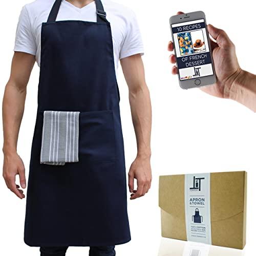 Tempery ✮ Kochschürze Männer & Frauen, Kochschürze, Küchenschürze, Grillschürze, Schürze Herren & Damen - Premium-Qualität 100{41adc664752da71c7979985f8521c07500d0ca4e2a5a4b90e14f5ab825885e51} Baumwolle - Blau - Latzschürze ✮ GESCHENK : Geschirrtuch-Küche