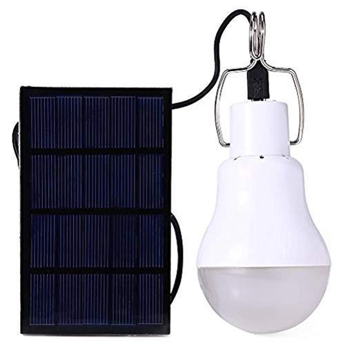 Delaspe - Bombilla solar portátil con energía solar, luz LED para senderismo, pesca, camping, tienda de campaña