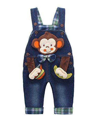 Bebé Niños Niñas Peto Vaquero Largo Overalls Mono Azul Ajustable con Animal...