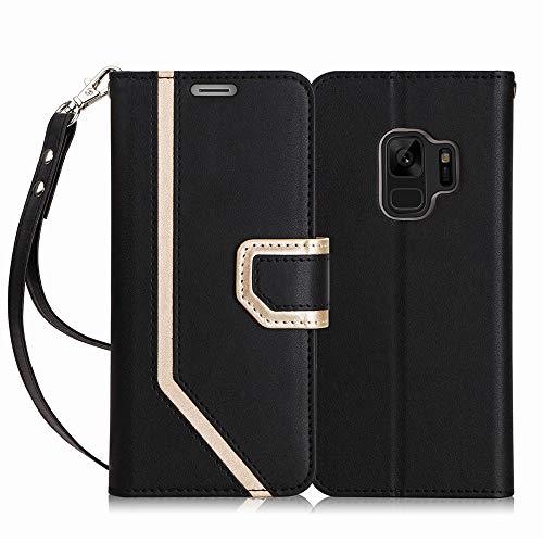FYY Coque Samsung Galaxy S9, [Étui à Maquillage en Cuir avec Portefeuille à l intérieur] avec [Technique de prévention des fuites d informations sur Les Cartes] pour Samsung Galaxy S9 Noir