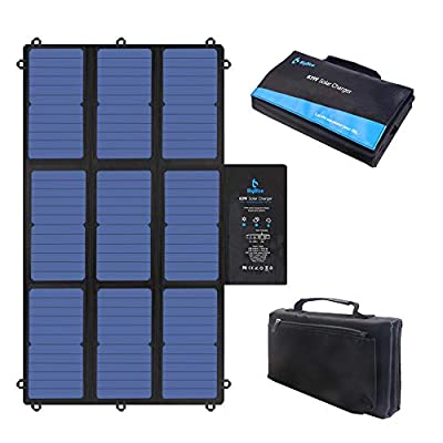 BigBlue 63W Solar Charger Portable with SunPower Solar Panel(Dual 5V USB+19V DC Output+USB-C Port), Foldable & Compact, for Power Station, Tablet, iPad, iPhone,12V Boat/RV Battery etc.[Update Version]