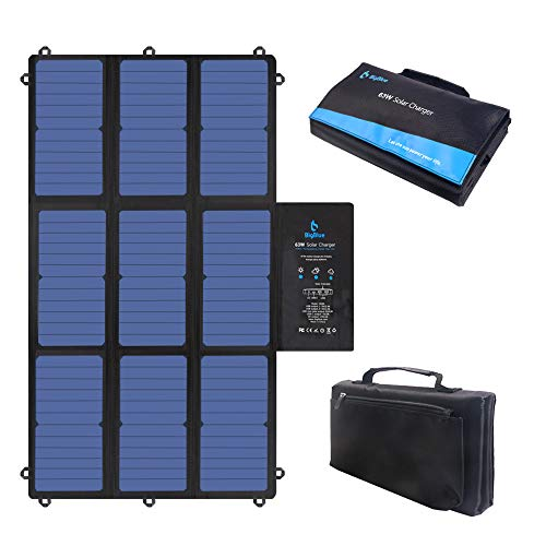 BigBlue 63W Foldable Solar Charger Portable SunPower Solar Panel (Dual 5V USB+19V DC Output USB-C Port) for Power Station, Tablet, iPad, iPhone, 12V Boat/RV Battery, GPS, Camera etc.