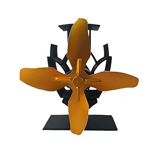 XIONGG 4-Flügeliger, Wärmebetriebener Ofenlüfter Geräuschloser, Umweltfreundlicher Lüfter Aus Aluminium Für Kamin Mit Holzfeuer