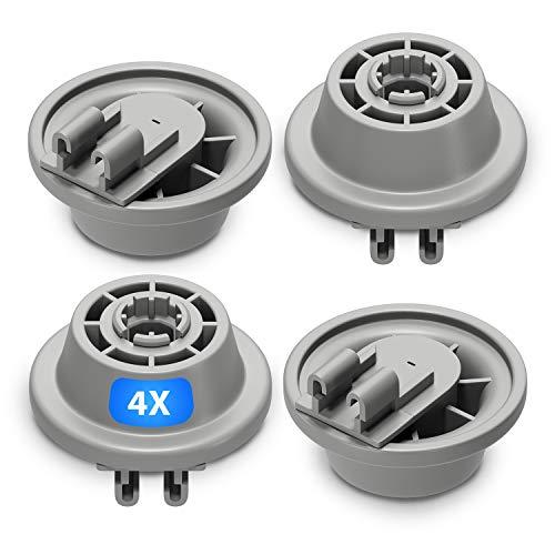Juego de 4 ruedas para cesta de lavavajillas de repuesto para Bosch 00611475 Siemens 611475 Küppersbusch 436718, ruedas con soporte de rodillos para cesta inferior de lavavajillas