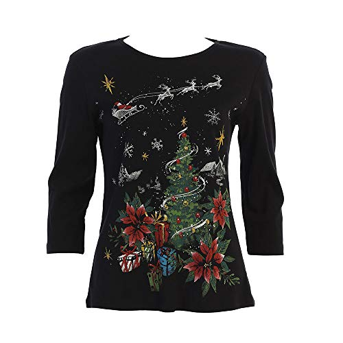 Jess & Jane Deer Santa Christmas Top in Multi - 14-1437BK