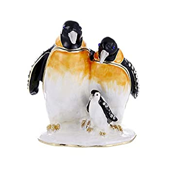 Hand Painted Trinket Box Decoration Enameled Mini Metal Hinged Jewelry Box with Crystals Rings Earrings Necklace Storage Home Decor Crafts Unique Animal Figurine Collectible Gift  Penguins Family