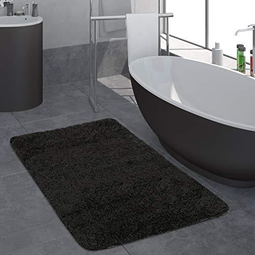 Paco Home Badezimmer Teppich Einfarbig Hochflor rutschfest In Versch. Größen u. Farben, Grösse:80x150 cm, Farbe:Schwarz