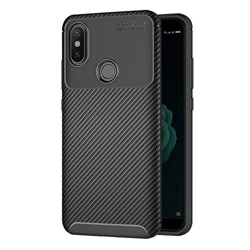 AICEK Funda Xiaomi Mi A2, Negro Silicona Fundas para Xiaomi Mi A2 Carcasa Xiaomi A2 Fibra de Carbono Funda Case (5,99 Pulgadas)