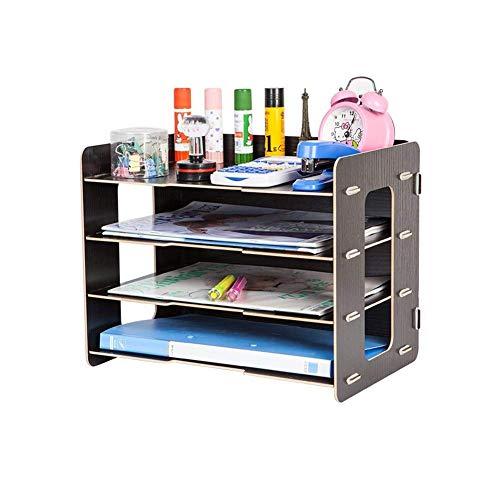 YLCJ Boekenrekken, kastcregalen, planken, schrijftafdelingen, organizer, desktop bestandsorteerder, A4, papiermappen, stationaire kantoorbenodigdheden, opbergdozen (kleur: kersenhout kleur)